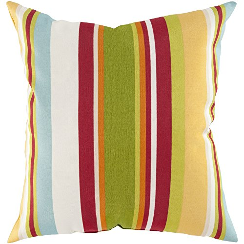 Surya ZZ418-1818 Indoor/Outdoor Pillow, 18-Inch by 18-Inch, Lemon/Lime/Olive/Ivory/Cherry/Teal ()