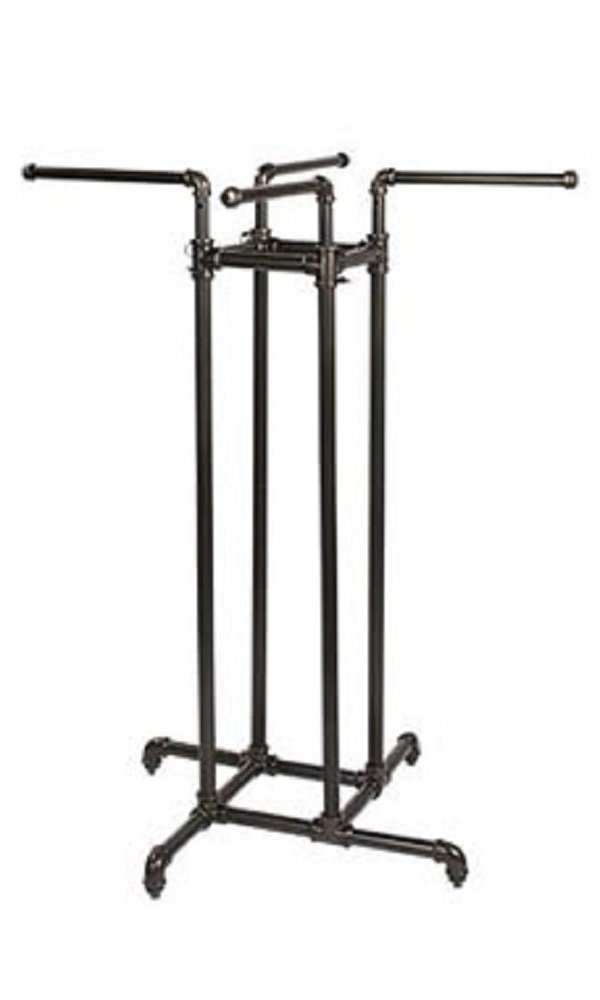 48''-72''H Boutique Pipe 4-Way Clothing Rack - Straight Arms by STORE001 (Image #1)