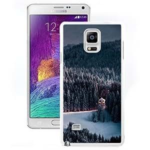 Beautiful Unique Designed Samsung Galaxy Note 4 N910A N910T N910P N910V N910R4 Phone Case With Winter Snow Forest Chalet Retreat_White Phone Case
