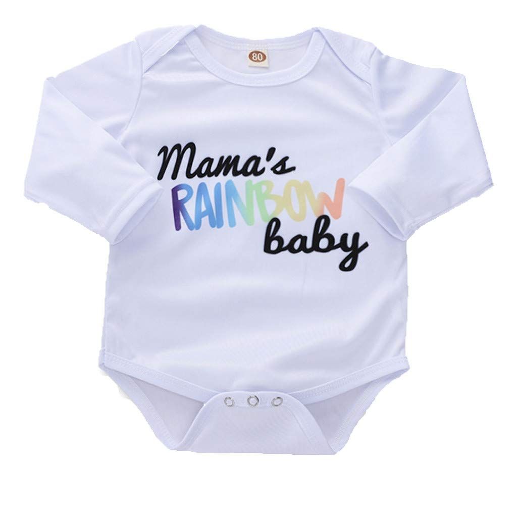 Kaicran Toddler Baby Boys Girls Clothes Set Long Sleeve Casual Cute Mamas Rainbow Baby Romper Outfits
