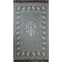 Islamic Prayer Mat Thin Namaz Sajjadah Muslim Janamaz Woven Chenille Tulip (Grey)