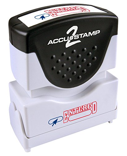 "ACCUSTAMP ""ENTERED"" Shutter Stamp with Microban Protection, Pre-Inked Red and Blue, Message Stamp (035544)"