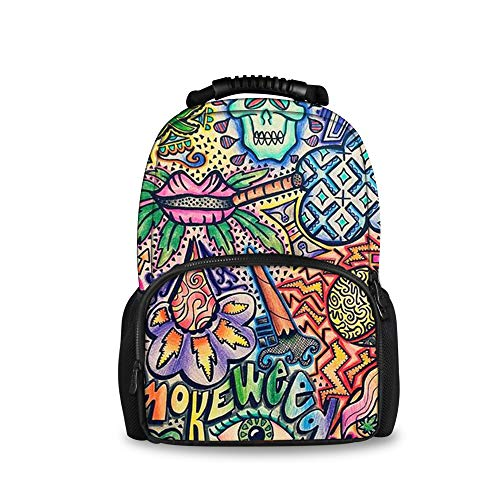 JACINTAN Durable Travel Sports Backpack Women Men School Bag Smoke Weed Vintage (Smoke Weed Backpack)