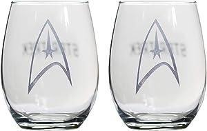 MALSA Star Trek Collectible Wine Glass Set, Starfleet Command Insignia Badge