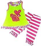 Boutique Clothing Girls Easter Bunny Ruffle Capri Legging Set Fuchsia Green 4T