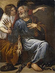 The polyster Canvas of oil painting 'Pereda y Salgado Antonio de Saint Peter Freed by an Angel 1643 ' ,size: 12 x 16 inch / 30 x 41 cm ,this Cheap but High quality Art Decorative Art Decorative Canvas Prints is fit for Kitchen decor and Home decor and Gifts