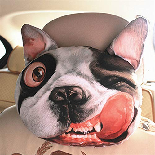 TreeMart 1pc Creative 3D Sharpei Dog Face Car Neck Pillow Soft Auto Head Neck Rest Cushion Headrest Pillow Activated Carbon Seat ()