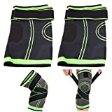 2pcs Compression Knee Sleeve Pressure Strap - Non Slip Adjustable 3D Weaving Knee Brace Protector Wrap Running, Jogging, Sports