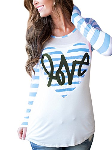 (Womens Baseball Shirts Long Reglan Sleeve Striped Love Heart Printed Slim Tunic Tops Casual Blouses)