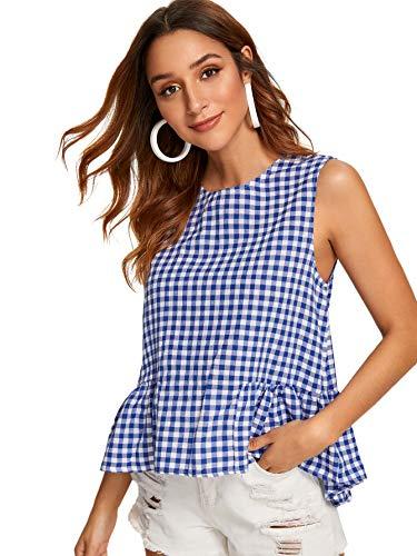 Floerns Women's Sleeveless Gingham Ruffle Hem Peplum Top Blouse Blue -