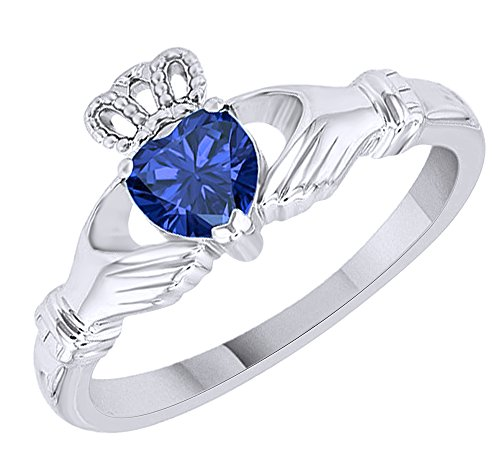 AFFY Heart Shape Simulated Blue Sapphire Claddagh Solitaire Ring in 14k White Gold Over Sterling Silver (0.55 Cttw) Size Ring - 10
