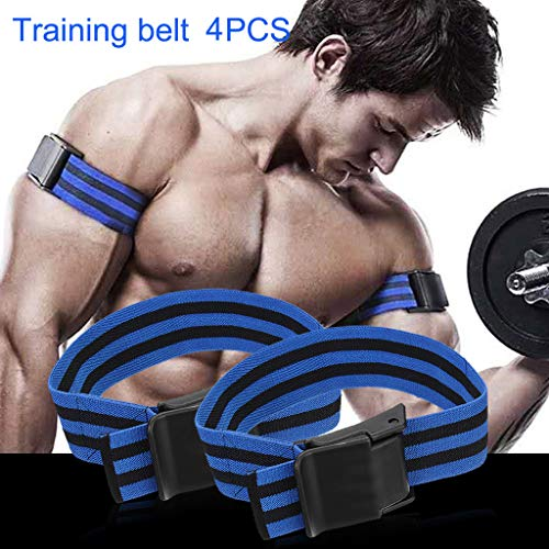 CapsA Occlusion Training Bands for Arms or Legs Blood Flow Restriction Bands Help Gain Muscle Without Lifting Heavy Weights Strong Elastic Strap Quick-Release (Blue)