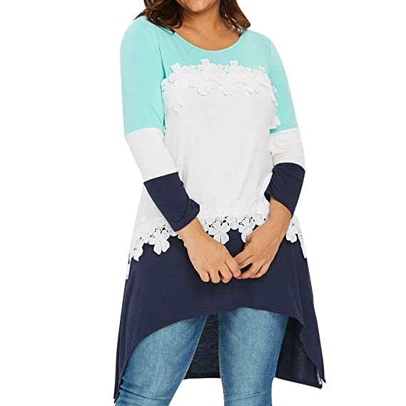 9800980d333 Women Casual Plus Size Lace Long Sleeve Patchwork Shirt Top Blouse White   Amazon.in  Clothing   Accessories