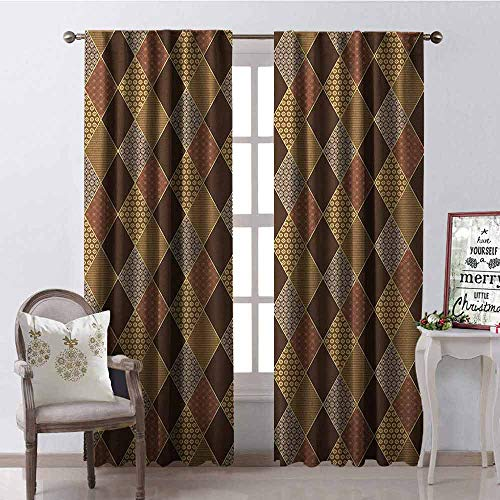 - GloriaJohnson Earth Tones Blackout Curtain Lozenge Pattern in Patchwork Style Striped and Floral Rhombus Brown Shades 2 Panel Sets W52 x L84 Inch Brown Yellow