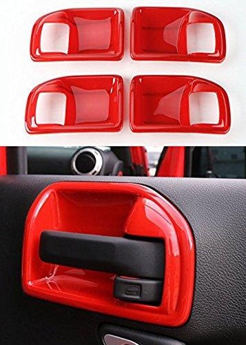 Opar Red Inner Door Handle Recess Guard for 2011 - 2018 Jeep JK Wrangler Unlimited 4-Door - Set