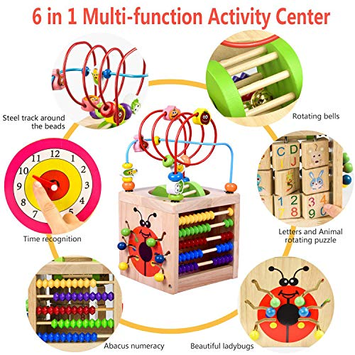 Amagoing 6-in-1 Activity Cube Multifunction Bead Maze Roller Coaster Classic Wooden Educational Toys for Kids