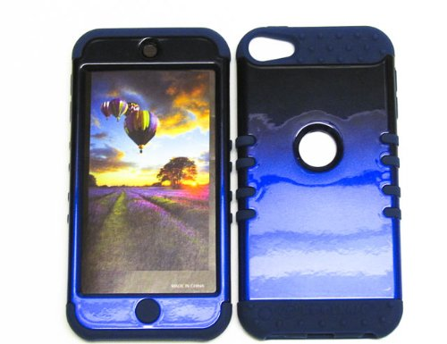 HYBRID SHOCK RESISTANT MEGA COVER SOLID CASE AND DARK BLUE SKIN WITH STYLUS PEN KOOLKASE ROCKER FOR APPLE IPOD ITOUCH 5 IPOD ITOUCH 5 TWO TONE BLACK BLUE DB-A005-ICG