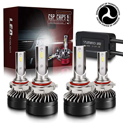 TURBOSII DOT Approved 9005 HB3 H10 9006 HB4 LED Headlight Bulbs Hi Lo Beam CSP Chips Combo Conversion Kit 6000K Xenon White IP67-4 Pack For Ford Expedition Toyota Sienna 4Runner ()