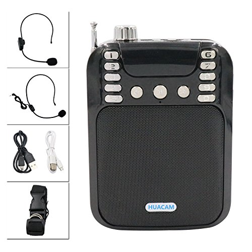 Microphone HUACAM HWS22 Wireless Bluetooth Voice Amplifier Portable Bluetooth Speaker +Wireless/ Wired Headphone Microphone Clear Voice Teaching Speeches Speeches Roadshows and More Venues Black