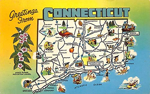 Greetings from Connecticut USA Postcard PU Unknown