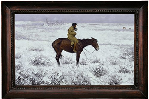 Historic Art Gallery the Herd Boy 1900 by Frederic Remington Framed Canvas Print, 12'' x 20'', Dark Gold Gallery by Historic Art Gallery