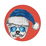 iPrint Polyester Round Tablecloth,Yorkie,Terrier a Blue Santa Hat Mirror Aviator Glasses Fun Hand Drawn Animal Decorative,Coral White Blue,Dining Room Kitchen Picnic Table Cloth Cover Outdoor I