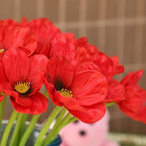 TILAN High Quality Artificial Mini Real Touch PU Poppy Latex Corn Party Decorative Silk Fake Artificial Poppy Flowers for Wedding Holidy Bridal Bouquet Home Party Decor Bridesmaid Bouquets(red,pack of 10)