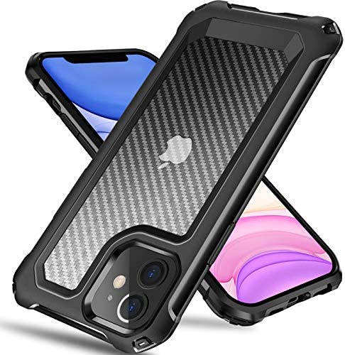 Tuerdan iPhone 11 Case, [Military Grade Shockproof] [Hard Carbon Fiber Back] [Soft TPU Bumper Frame] Anti-Scratch, Fingerprint Resistant, Protective Phone Case for iPhone 11, 6.1 Inch (Black)