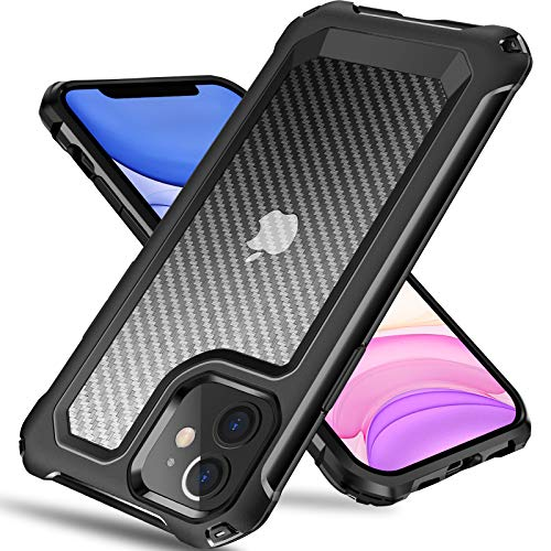Tuerdan iPhone 11 Case, [Military Grade Shockproof] [Hard Carbon Fiber Back] [Soft TPU Bumper Frame] Anti-Scratch, Fingerprint Resistant, Protective Phone Case for iPhone 11, 6.1 Inch