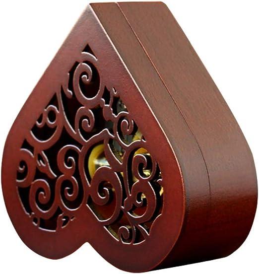 LIOOBO Caja Musical en Forma de corazón Vintage Madera Tallada Cuerda para Arriba Caja de música Regalo para el Día de San Valentín: Amazon.es: Hogar