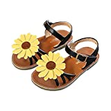 lakiolins Toddler Girls Summer Beach Sunflowers Slingback Flat Sandals Princess Dress Shoe Black Size 23