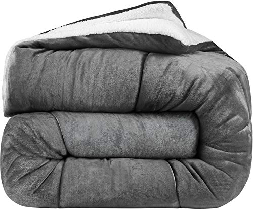 Twin Fleece Comforter Cloud - Utopia Bedding - All Season Alternative Fleece Comforter - Goose Down Sherpa Comforter Twin - Grey