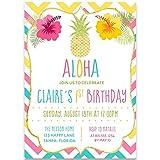 Aloha, Birthday Party Invitations, Girls, Rainbow, Hawaii, Tropical, Pineapple, Floral, Botanical, 10 Custom Printed Cards with Envelopes, Chevron Stripes,