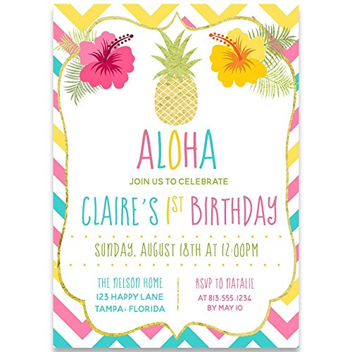 Aloha, Birthday Party Invitations, Luau Invites, Girls, Rainbow, Hawaii, Tropical, Pineapple, Floral, Botanical, Chevron Stripes, Pack of 10 Custom Printed Cards and Envelopes