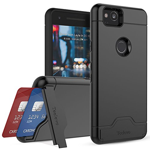 Teelevo Wallet Case for Google Pixel 2 - Dual Layer Case with Card Slot Holder and Kickstand for Google Pixel 2 (2017) - Black
