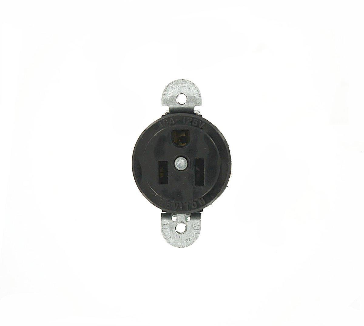 Leviton 5258-SS 15 Amp, 125 Volt, Short Strap Single Receptacle, Straight Blade, Heavy Duty Spec Grade, Grounding, Black
