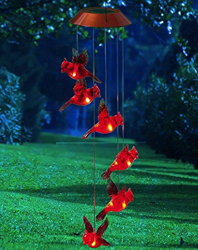 """Evergreen Garden Cardinal Flight Color-Changing Plastic Solar Powered Outdoor Mobile Wind Chime - 5""""W x 5""""D x 26.5""""H"""