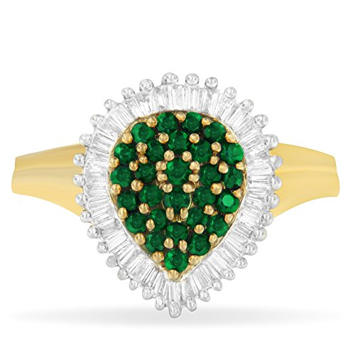 10K Yellow Gold Emerald Gemstone and Diamond Ballerina Cluster Ring (1 cttw, H-I Color, SI1-SI2 Clarity) - Ballerina Gold Ring