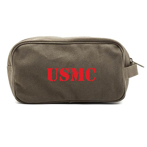 USMC United States Marine Corps Text Canvas Shower Kit Travel Toiletry Bag Case in Olive & - Shower Marina