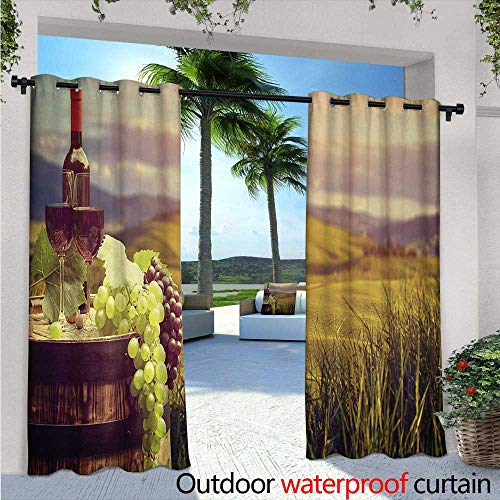 BlountDecor Wine Outdoor Blackout Curtains W96 x L96 Italy Tuscany Landscape Rural Vineyard Autumn Harvest Grapes Drink Viticulture Outdoor Privacy Porch Curtains Green Black Brown