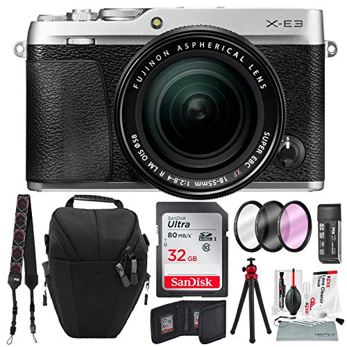 Fujifilm X-E3 Mirrorless Digital Camera w/XF 18-55mm Lens (Silver) with 32GB and Xpix Cleaning Kit Bundle
