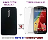 Combo of Back Cover + Tempered Glass - Motorola Moto G3 & Moto G Turbo - By Shop Buzz (Black Back Cover and Tempered Glass Screen Protector For Moto G3 & G Turbo)