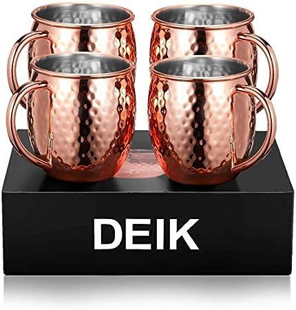 Deik moscow mule, taza de cobre hecha a mano doble Hammered pared Moscú Mule rusa no recubierto mula Tazas 4, puro grande y suave para ginebra, vodka