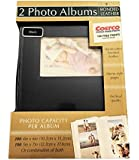 2-Pack Bonded Leather Photo Album Holds 300 Photos Each - Black