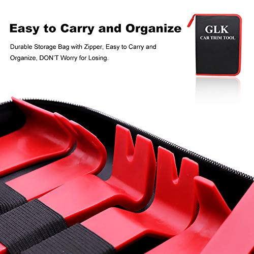 GLK Car Trim Removal Tool Door Panel Removal Tool for Car Radio Clips Window Molding Upholstery Marine Fastener Removal and Installation with Storage Bag Nylon Pry Tool 19PCS(red) by GLK (Image #6)
