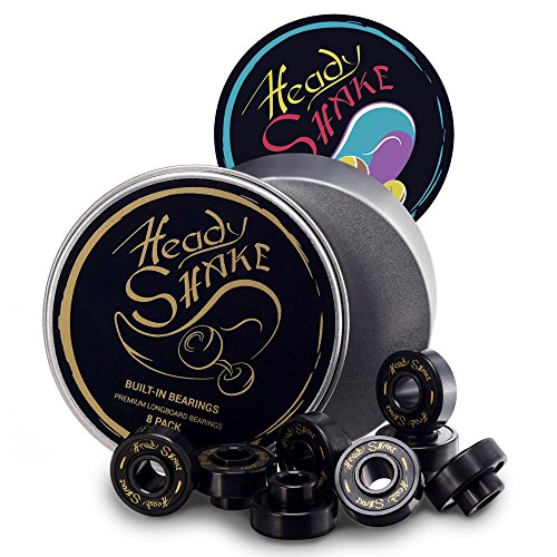 - Heady Shake Pro Longboard Bearings Built-In Spacers and Washers - Longboards, Skateboards, Inline Skates, Quads - Frictionless Surface - Ultra-Fast - Downhill, Dancing, Freeride Use - 8-Pack