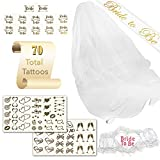 Bachelorette Party Decorations Kit Bridal Tattoos Pack - 70 Tattoos (Tribal Arrows), 1 Sash, Veil, and Heart Shaped Garter