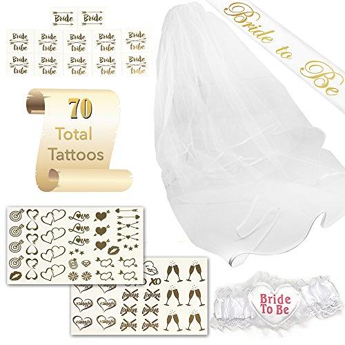 SASSY TATTS Bachelorette Party Kit | Satin Bride To Be Sash, Veil, Garter, 2 Sheets of Chic Tattoos, 12 Bride/Bride Tribe A Tattoos | For Bachelorettes, Bridal Showers, Theme Parties, & Weddings Sassy Garter