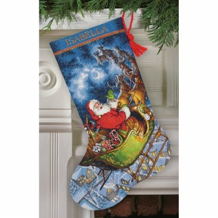 Gold Collection Santas Flight Stocking Counted Cross Stitch-16 in. Long 16 Count - Dimensions 70-08923