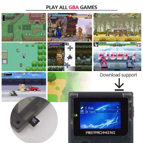 Retro Mini Handheld Video Game System (Transparent White), 16 GB Card, Gamebound Travel case, classic 1037 built in English GBA games by Gamebound (Image #6)